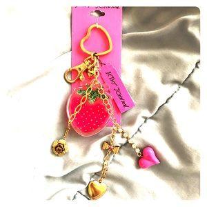 Betsey Johnson Strawberry Keychain
